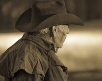 El vaquero, Howard Linscott mira hacia fuera durante el dólar pasado histórico Ranc Imágenes de archivo libres de regalías