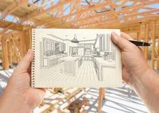 El varón da la pluma de tenencia y el cojín del papel con la cocina de encargo Illu imagen de archivo