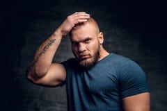 El varón muscular brutal vistió en un tacto azul de la camiseta su cabeza Imágenes de archivo libres de regalías