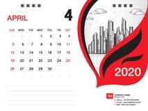El vector 2020, ABRIL DE 2020 mes de la plantilla del calendario de escritorio, disposici?n del negocio, 8x6 pulgada, semana comi ilustración del vector