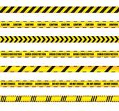 El vector advierte los elementos coloreados de las cintas fijadas, amarillos y negros del diseño, advertencia, muestras de la pre ilustración del vector
