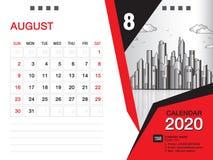 El vector 2020, AGOSTO DE 2020 mes de la plantilla del calendario de escritorio, disposición del negocio, 8x6 pulgada, semana com libre illustration