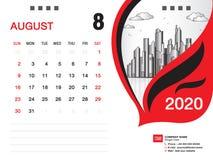 El vector 2020, AGOSTO DE 2020 mes de la plantilla del calendario de escritorio, disposici?n del negocio, 8x6 pulgada, semana com libre illustration