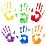 El vector aisló impresiones multicoloras de la mano de la pintura ilustración del vector