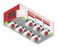 El vector aisló la oficina de plan abierto isométrica con los objetos y el furn stock de ilustración