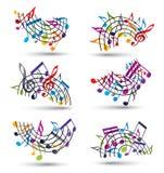 El vector alegre brillante staves con las notas musicales sobre el backgroun blanco stock de ilustración