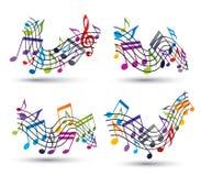 El vector alegre brillante staves con las notas musicales sobre el backgroun blanco libre illustration