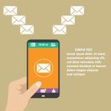 El vector app móvil - envíe por correo electrónico el márketing y la promoción ilustración del vector