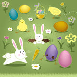 El vector Art Elements Easter Bunny Chicks Eggs la cesta Imagenes de archivo