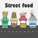 El vector atasca con la comida de la calle Alimentos de preparación rápida y soda fría Foto de archivo
