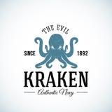 El vector auténtico malvado del extracto de la marina de guerra de Kraken ilustración del vector