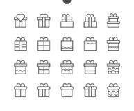 El vector Bien-hecho a mano perfecto del pixel de los regalos UI alinea ligeramente los iconos 48x48 listos para la rejilla 24x24 Imagen de archivo libre de regalías