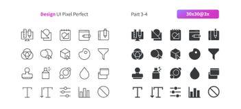 El vector Bien-hecho a mano perfecto del pixel del diseño gráfico UI alinea ligeramente y la rejilla sólida 3x de los iconos 30 p Fotos de archivo libres de regalías