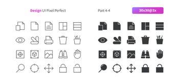 El vector Bien-hecho a mano perfecto del pixel del diseño gráfico UI alinea ligeramente y la rejilla sólida 3x de los iconos 30 p Foto de archivo libre de regalías