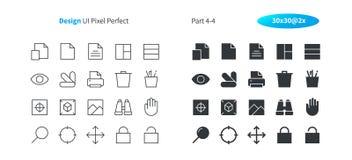 El vector Bien-hecho a mano perfecto del pixel del diseño gráfico UI alinea ligeramente y la rejilla sólida 2x de los iconos 30 p Imágenes de archivo libres de regalías