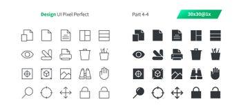 El vector Bien-hecho a mano perfecto del pixel del diseño gráfico UI alinea ligeramente y la rejilla sólida 1x de los iconos 30 p Imagen de archivo