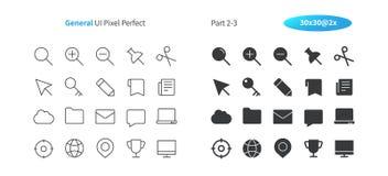 El vector Bien-hecho a mano perfecto del pixel general de UI alinea ligeramente y la rejilla sólida 2x de los iconos 30 para los  Imagen de archivo