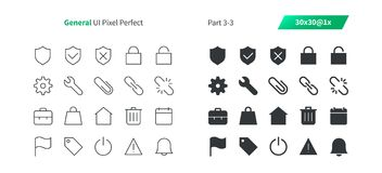 El vector Bien-hecho a mano perfecto del pixel general de UI alinea ligeramente y la rejilla sólida 1x de los iconos 30 para los  Fotografía de archivo
