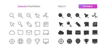 El vector Bien-hecho a mano perfecto del pixel general de UI alinea ligeramente y la rejilla sólida 3x de los iconos 30 para los  Imágenes de archivo libres de regalías