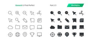El vector Bien-hecho a mano perfecto del pixel general de UI alinea ligeramente y la rejilla sólida 1x de los iconos 30 para los  Imagen de archivo libre de regalías