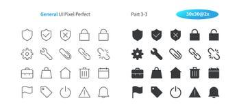 El vector Bien-hecho a mano perfecto del pixel general de UI alinea ligeramente y la rejilla sólida 2x de los iconos 30 para los  Fotografía de archivo