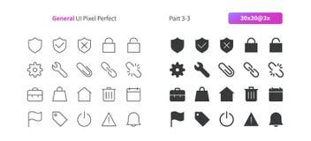 El vector Bien-hecho a mano perfecto del pixel general de UI alinea ligeramente y la rejilla sólida 3x de los iconos 30 para los  Imagenes de archivo