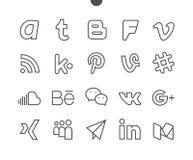 El vector Bien-hecho a mano perfecto del pixel social de los medios UI alinea ligeramente los iconos 48x48 listos para la rejilla Fotos de archivo