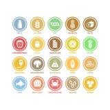 El vector blanco del círculo de los alergénicos de la comida firma adentro etiquetas coloridas libre illustration