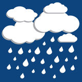 El vector blanco se nubla con lluvia el caer sobre fondo azul stock de ilustración
