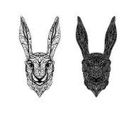 El vector blanco y negro aisló las liebres/el conejo lineares de la cabeza de la tinta encendido libre illustration