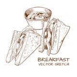 El VECTOR bosquejó el desayuno: bocadillos y dibujo de la salsa Imágenes de archivo libres de regalías