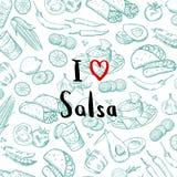 El vector bosquejó el fondo mexicano de los elementos de la comida con las letras libre illustration