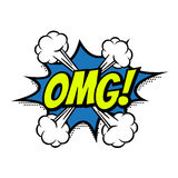 El vector cómico de la burbuja del texto de OMG aisló el icono del color libre illustration