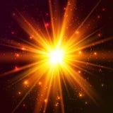 El vector cósmico amarillo estalla Imagen de archivo libre de regalías