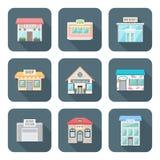 El vector coloreó diversos iconos de los edificios del estilo plano fijados Imágenes de archivo libres de regalías