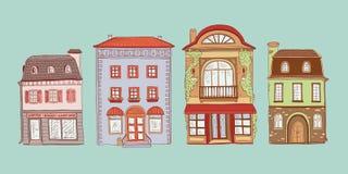 El vector coloreó el sistema del ejemplo del bosquejo del contorno de los hogares del europeo del vintage Tiendas del equipo y ca ilustración del vector