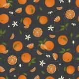 El vector coloreó el modelo inconsútil de las naranjas aisladas en fondo texturizado negro ilustración del vector