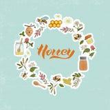 El vector coloreó el sistema de elementos de la miel enmarcados en círculo ilustración del vector