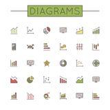 El vector coloreado Diagrams la línea iconos Foto de archivo