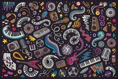 El vector colorido garabatea el sistema de la historieta de objetos de la música del disco Fotografía de archivo libre de regalías