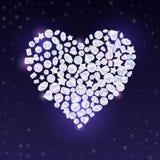 El vector colorido jewels las piedras preciosas y los cristales en corazón de las tarjetas del día de San Valentín forman stock de ilustración