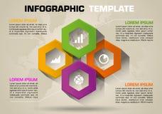 El vector colorido moderno de la plantilla de las opciones del infographics con hexágono colorido y el mundo punteó el mapa libre illustration