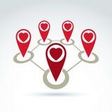 El vector conectó indicadores del mapa con el icono cariñoso del corazón Foto de archivo
