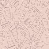 El vector cosmético del modelo del objeto de las mujeres aisló iconos rosados Fotos de archivo libres de regalías