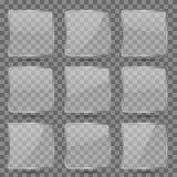 El vector cuadrado de cristal brillante abotona con la reflexión para el app móvil libre illustration