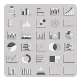 El vector de iconos planos, del gráfico básico, de la carta y del diagrama fijó para los datos de negocio Fotos de archivo libres de regalías