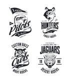 El vector de la camiseta del club de los motoristas del jaguar, del lobo, del águila y del búho del vintage aisló el sistema del  ilustración del vector