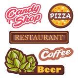 El vector de la colección simboliza - el ejemplo aislado del vector de las etiquetas Logotipo para la pizza, tienda del caramelo, ilustración del vector