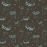 El vector de la comida del café fijó el modelo negro y azul del monograma de la comida rápida stock de ilustración