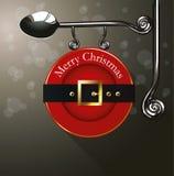 El vector de la correa de Papá Noel canta la ejecución de la placa Imágenes de archivo libres de regalías